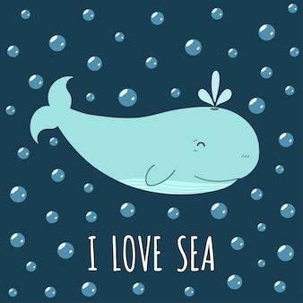 Ik hou van zeekaart met een schattige walvis.