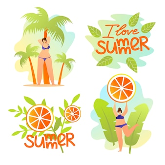 Ik hou van zomer banners set. summertime mood, resort