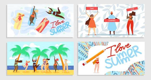 Ik hou van zomer, tijd voor zomer banner set