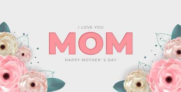 Ik houd van jou mam. gelukkige moederdag achtergrond.