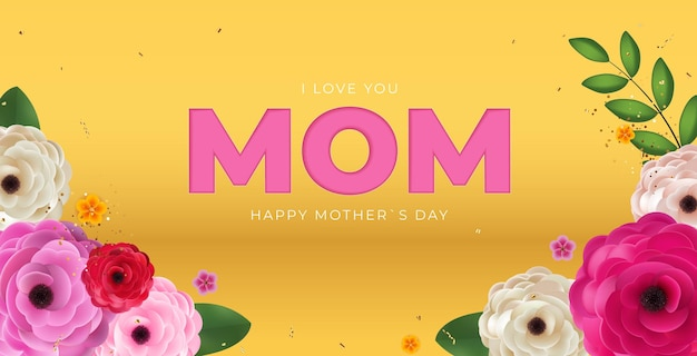 Ik houd van jou mam. happy mother day achtergrond.