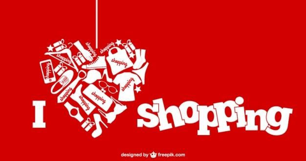 Ik houd van winkelend vectorillustratie