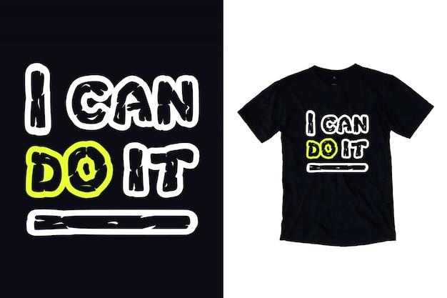 Ik kan het typografie voor t-shirt