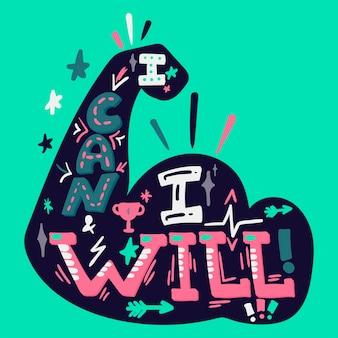 Ik kan ik zal met de hand getekende letters. sport motivatie. biceps illustratie. inspirerende poster