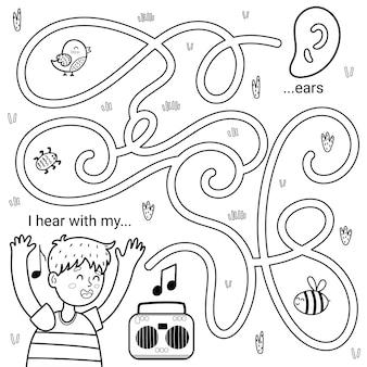 Ik kan met mijn oren zwart-wit doolhofspel voor kinderen horen. vijf zintuigen labyrint kleurplaat.