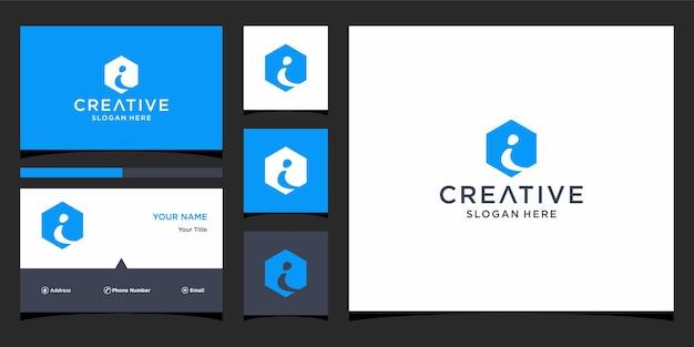 Ik logo-ontwerp met zakelijke kaartsjabloon