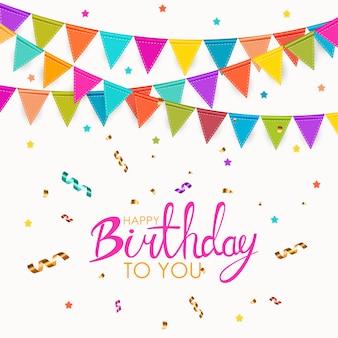Ik wens je een gelukkige verjaardag. partij wenskaart met vlaggen vectorillustratie