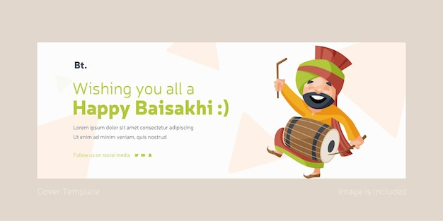 Ik wens jullie allemaal een gelukkig baisakhi facebook omslagontwerpsjabloon