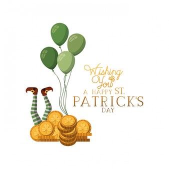 Ik wens u een gelukkig st patrick dag label met munten pictogrammen