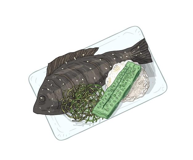 Ikan bakar op plaat hand getrokken illustratie.