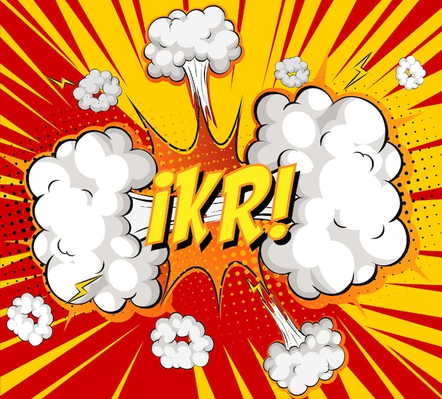 Ikr-tekst over komische wolksexplosie op stralenachtergrond