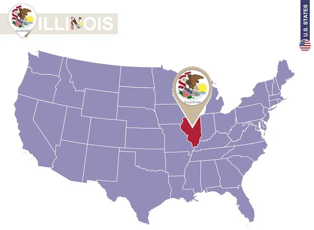 Illinois state op de kaart van de v.s. de vlag en de kaart van illinois. amerikaanse staten.