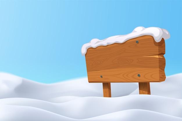 Illistration van realistische sneeuwheuvels met houten leeg bord op glanzende dag