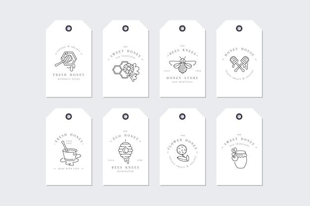 Illustartion-logo's en ontwerpsjablonen of badges instellen
