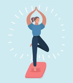 Illustation van jonge vrouw die een yoga doet stelt voor evenwicht en zich uitrekken.
