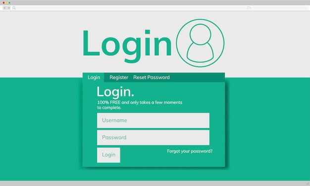 Illustraion van account login sjabloon
