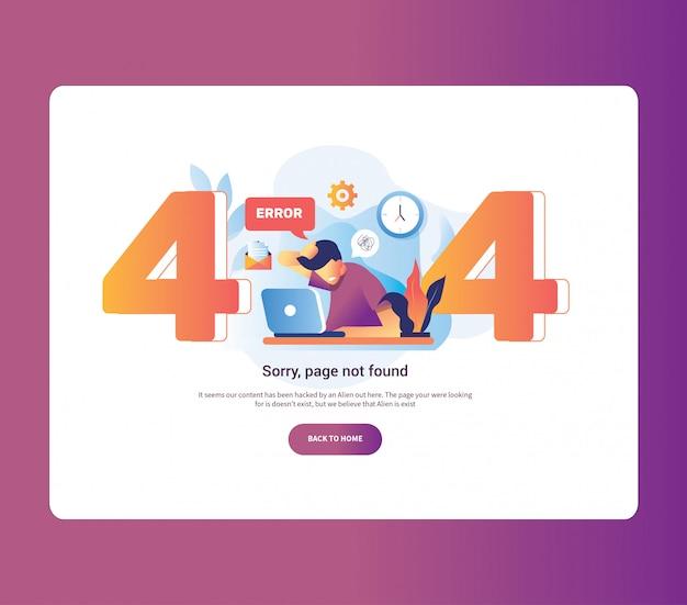 Illustratie 404-foutpagina mannelijke werknemer gefrustreerd vooraan laptop. systeemfout uploadschema versnelling is goed voor page not found error 404.
