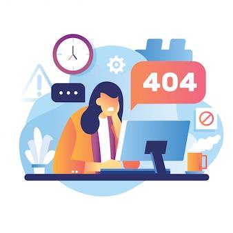 Illustratie 404-foutpagina werkneemster gefrustreerd vooraan op de desktop. systeemfout uploadschema versnelling is goed voor page not found error 404.
