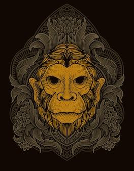 Illustratie aap hoofd met vintage gravure ornament stijl