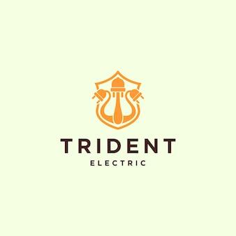 Illustratie abstracte elektrische drietand teken met plug symbool logo ontwerpsjabloon