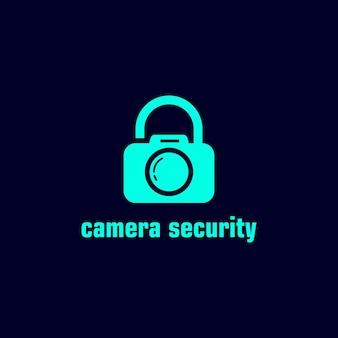 Illustratie abstracte moderne camera fotografie symbool met lock teken logo ontwerpsjabloon