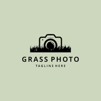 Illustratie abstracte silhouet camera fotografie met natuur gras logo ontwerp vector
