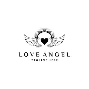 Illustratie abstracte vliegende vleugels met hart liefde teken badge ontwerp art