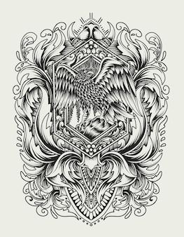 Illustratie adelaar vogel op vintage gravure ornament