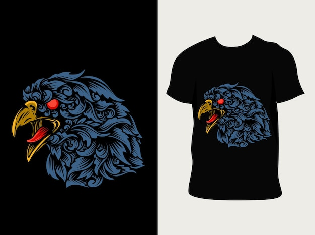Illustratie adelaarskop met ornamentstijl