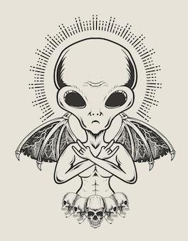 Illustratie alien met demon vleugels zwart-wit stijl
