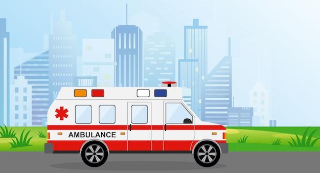 Illustratie ambulance auto in de stad. cityscape op achtergrond in lichtblauwe kleuren. auto paramedische noodsituatie in vlakke stijl.