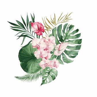 Illustratie, aquarel boeket met tropische bladeren en bloemen, witte orchidee, roze roos en witte anthurium, monstera en palmbladeren.
