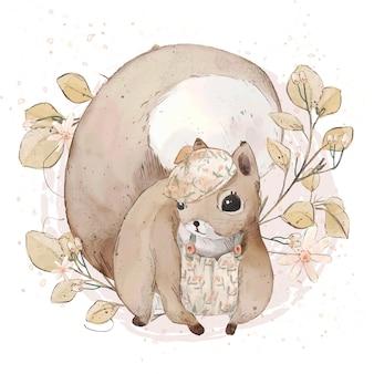 Illustratie aquarel eekhoorn, bloem, blad, ster en natuurlijke wilde hand getekende set