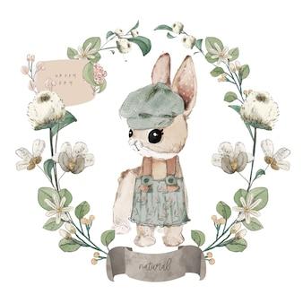 Illustratie aquarel konijn, bloem, blad en natuurlijke wilde hand getrokken set