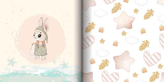 Illustratie aquarel konijn, bloem, blad, ster en natuurlijk wild handgetrokken naadloos patroon