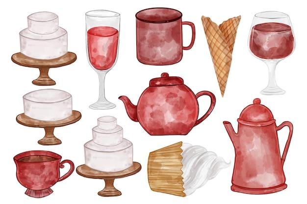 Illustratie aquarel van theepot, glas, cake, thee, waterkoker en anderen