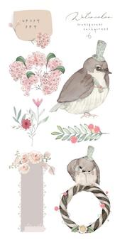 Illustratie aquarel vogel, bloem, blad en natuurlijke wilde hand getrokken set