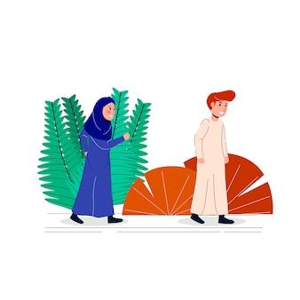 Illustratie arabische hijab vrouwen achtervolgen mannen