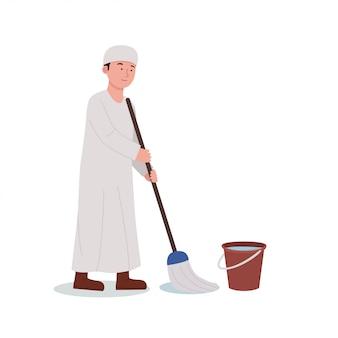 Illustratie arabische jongen die vloer schoonmakend huis dweilen