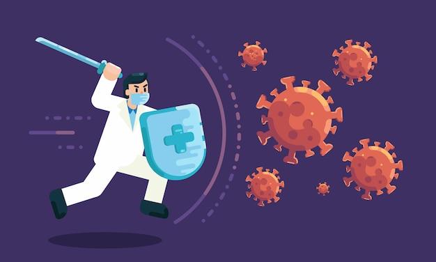 Illustratie arts bestrijden virus covid-19 of coronavirus en genezen coronavirus plat concept