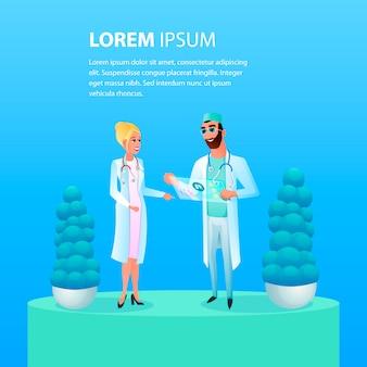 Illustratie arts die de behandeling van de patiënt bespreekt