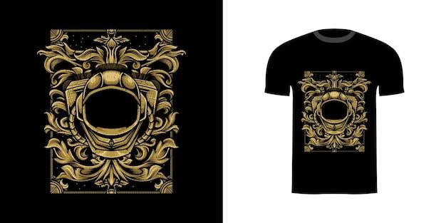 Illustratie astronaut met gravure ornament voor t-shirt design