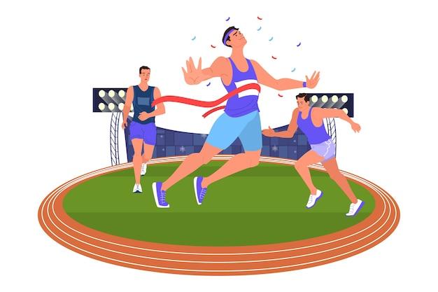 Illustratie atleet sprinten. loopwedstrijd. jonge professionele sportman opleiding. atleet op het stadion. championship toernooi. vector
