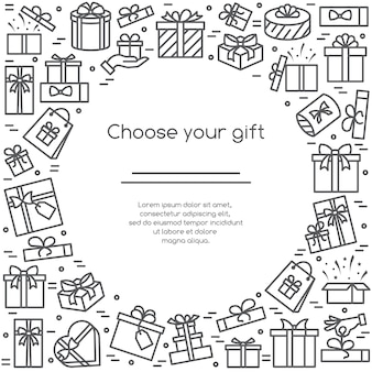 Illustratie banner met ingepakte en versierde geschenkdozen pictogrammen