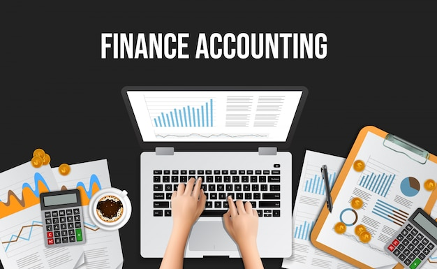 Illustratie bedrijfsconcept voor financiële boekhouding, management, audit, onderzoek, werken op kantoor Premium Vector
