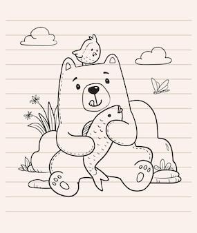 Illustratie beer en vis
