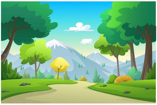 Illustratie bergen, bomen, maïsveld