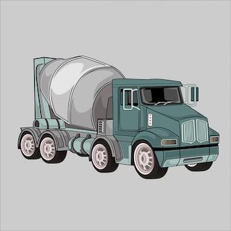 Illustratie beton mengen vrachtwagens