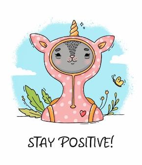 Illustratie blijf positieve kat in eenhoornkostuum