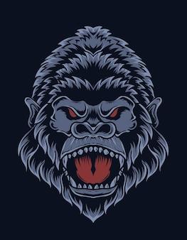 Illustratie boos gorilla hoofd